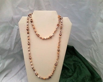 shell, Bicone crystal Copper-AB necklace