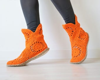 Crochet Slippers, Slipper Boots, Handmade Gift, Orange Indoor Shoes, Custom Size, Boho Gift for Her, Home Shoes, Indoor Shoes, Boho Shoes