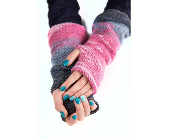 Fingerless Gloves, Texting Gloves, Boho Chic Gloves, Arm Warmers, Knitted Pink Gloves, Knit Winter Gloves, Women's Gloves, Custom Colors