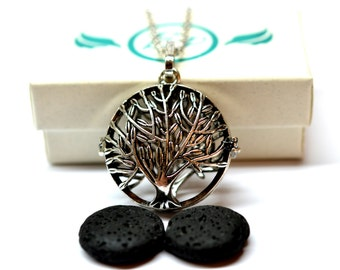 Tree of Life Lava Stone Essential Oil Diffuser Necklace // Aromatherapy Necklace // - With Choice of Essential Oil