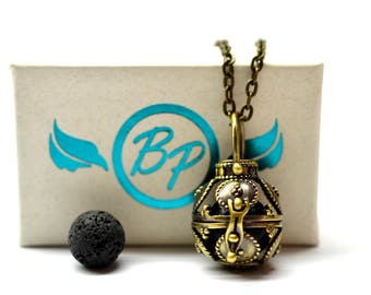 Regal Cage Lava Stone Diffuser Necklace // Aromatherapy Necklace //- With Choice of Essential Oil