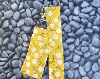 Matching Wristlet Keychain/KeyFob  and Chapstick Holder ~ Yellow Flowers ~ Teacher Gift ~ Mom Gift ~ Unique Gift