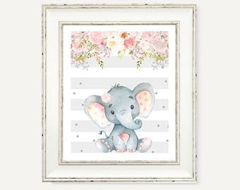Elephant Pink Gray Party Decorations - Pink and Gray Baby Girl Nursery Print - Instant Download - Baby Shower Party Decor - Floral Printable