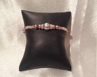 Lavender pearl and crystal bracelet