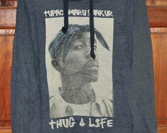 Vintage2 Pac Thug 4 Life Big Logo Hoodie 2pac Sweatshirt Shakur Hoodie Hip Hop Saiz Medium