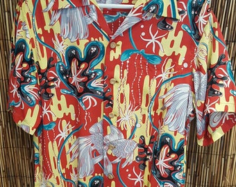 "Special edition Sunsurf repro of 1950 Kamehameha ""Oriental Under the Sea"" SS Silky Rayon Hawaiian Shirt. New like condition."