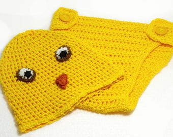 "Yellow Baby Costume: ""CHICKEN COSTUME"" Newborn hat, Photography prop, crochet hat, baby diaper cover, infant baby costume A199"