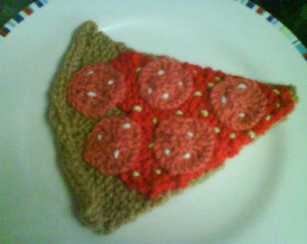 hand knitted slice of pepperoni pizza