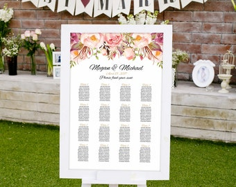 Wedding Seating Chart Template, Boho Chic Floral Wedding Table Plan, #A008, INSTANT DOWNLOAD with EDITABLE text - you personalize at home