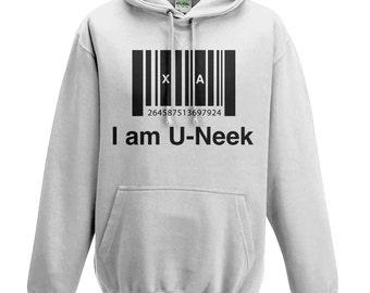 I am u-neek - kids hoodie - Inspirational Quote - Grey - Unique