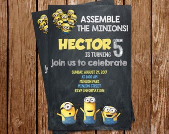 Minions Invitation, Minion Invitations, Minions Party Invite, Minions Birthday party Invites, Printed or Printable Invitations, PDF Invite