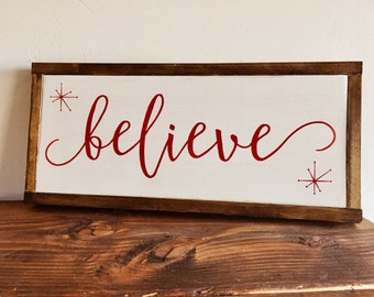 Believe Sign   Christmas Sign   Christmas Mantle Decoration   Christmas Decor   Holiday Decorations   Believe