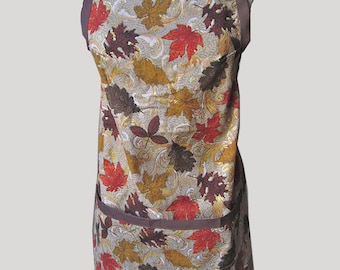 Apron with Fall Leaves Printed Fabric