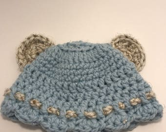 Blue teddy toddler hat