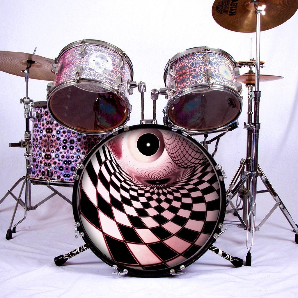 psychedelic drum skin for bass snare and tom drums. Black Bedroom Furniture Sets. Home Design Ideas