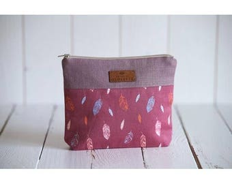 Old pink and cotton linen pouch printed feathers original creation