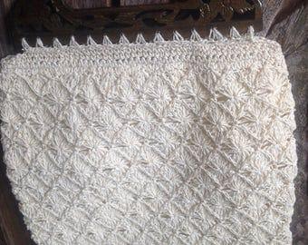 Woven Crochet Macrame Wooden Top Handle Bag