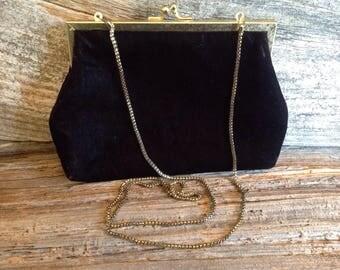 Vintage Black Velour Evening Bag/Clutch bride/bridal/wedding/party/evening bag/ clutch/velour