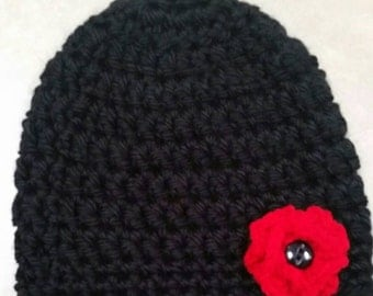 Adult Size Black Hat With Red Flower