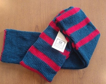 Blue and Red Striped Scarf