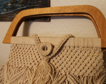 Vintage Macrame Purse with Wooden Handle