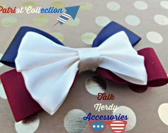 Burgundy, Navy and Cream Patriotic Hair Bow