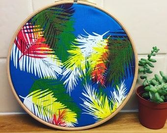 Palm leaf screen printed embroidery hoop wall art - Blue