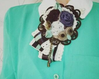 Fabric brooch, Vintage brooch, Textile brooch, Boho brooch, Corsage pin,  Fabric brooch, Boho chic, Beautiful brooch