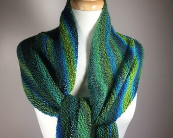 Multicolored scarf, hand knit scarf, lightweight scarf, striped scarf, assymetrical scarf, multicolor wrap, hand knit wrap, lightweight wrap