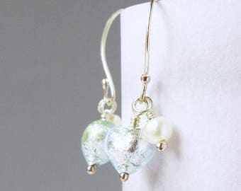 Mint Green Genuine Murano Heart Sterling Silver and Freshwater Pearl Drop Earrings