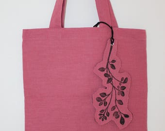 SALE!! Tote bag, hand-printed, linen bag, market bag, beach bag, linen, plant pattern