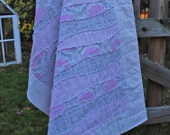 Handmade Baby Pink and Gray Wavey Quilt