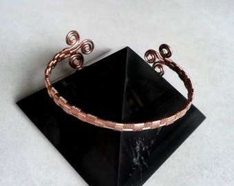 OOAK-copper Bracelet, wire wrap, adjustable cuff bracelet