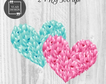 2 Feathers heart Elements Valentine's Clipart Love Clipart Digital Wedding Elements Love graphics Hearts clipart Romantic clipart Feathers