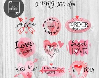 9 Watercolor Love Elements Valentine's Clipart Love Clipart Digital Wedding Elements Cute Love graphics Fall in love Romantic clipart