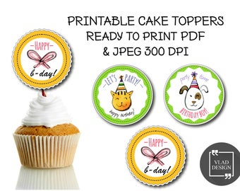 3 Printable cupcake toppers, Happy birthday cupcake toppers, Round label, DIY topper, Printable labels, Printable tags, Boys birthday party