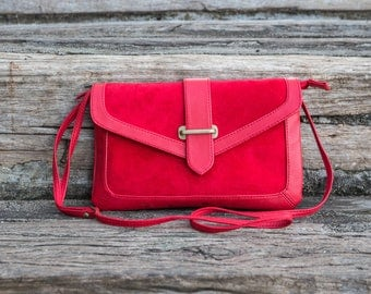 Red leather bag / Red leather clutch / Women's leather bag / Leather clutch / Red crossbody bag