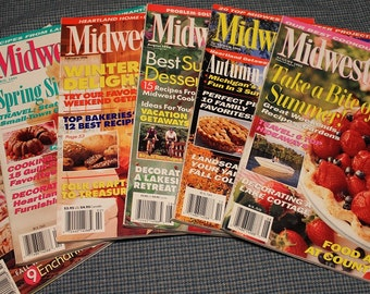 6 - MidWest Living Magazines ~ 1990's Vintage Back Issues ~ Cooking ~ Decorating ~ Landscaping ~ Gardening ~Travel