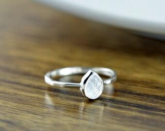 Sterling Silver Pear Moonstone Ring - Moonstone Ring - Statement Ring - Gemstone Ring - Solitaire Ring - Stacking Rings - Gift for Her