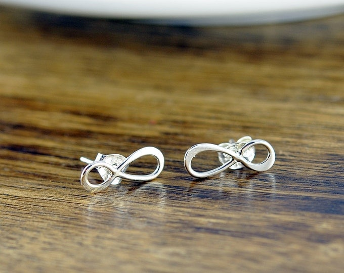 sterling silver infinity earrings - infinity earrings - sterling silver studs - silver infinity, eternity, infinity studs - wedding jewelry