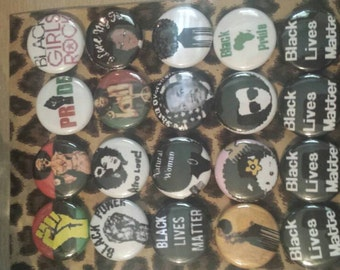20 Pins Button set Natural, Afro Love,Black Lives Matter 1 inch Buttons