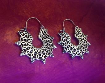 Silver mandala earrings