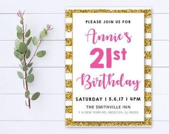 Printable Adult Birthday Party Invitation - Pink Magneta Gold Glitter Stripes - 004