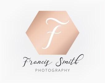 Premade Logo Design - Rose Gold Pink Hexagon Monogram Geometric Logo