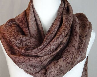 Hand painted silk scarf, brown, hand paint brown silk scarf, handmade handpainted long  brown silk scarf, long brown shawl,brown scarf