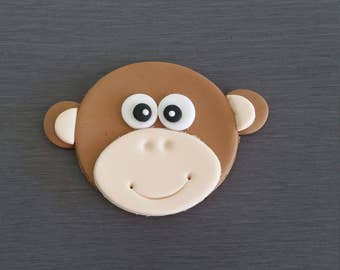 6 x Monkey cupcake toppers, edible Monkey's,  fondant toppers, jungle cupcake  decorations, circus cake decorations, circus toppers