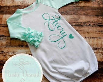 Coming Home outfit baby girl, Raglan Ruffle Sleeve Gown, Newborn baby girl gown, Personalized baby gown, baby girl gown,  Baby shower gift