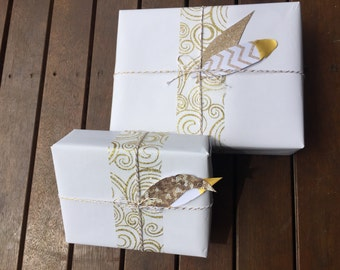 Wedding Gift Wrap / Gift Wrap Set / 2 Full Paper Sets / White Wrapping Paper / Gold Ribbon / Twine