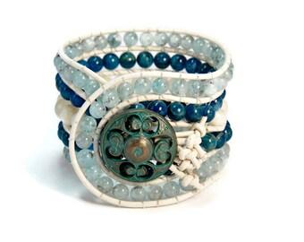 Boho Antarctica * 5 strand Statement Wrap Bracelet. Boho Style. Bohemian Jewelry. Semiprecious stones. Gift for her. Unique Design.