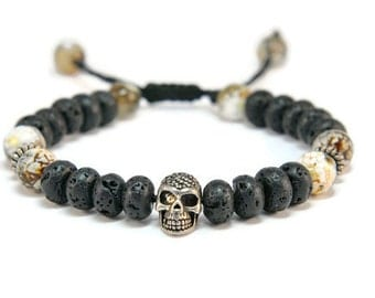 Wild Tiger * Lava & Agate Men Rock Style Pull - Tie Bracelet